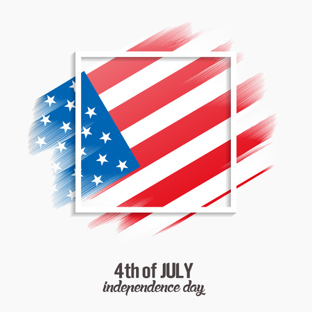 4th of July, United States independence day white background, vector, illustration