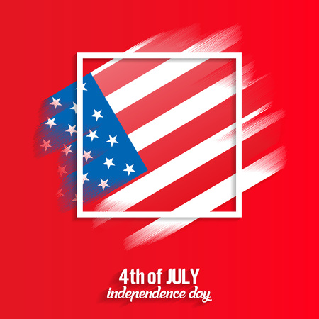 4th of July, United States independence day red background, vector