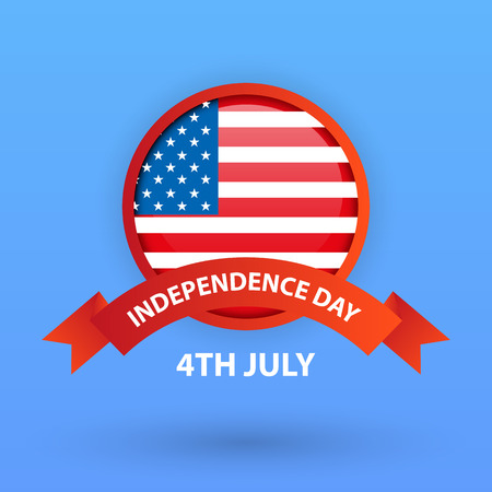 4th of July, United States independence day greeting card with blue background, vector, illustration