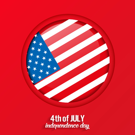 4th of July, United States independence day greeting card with red background, vector