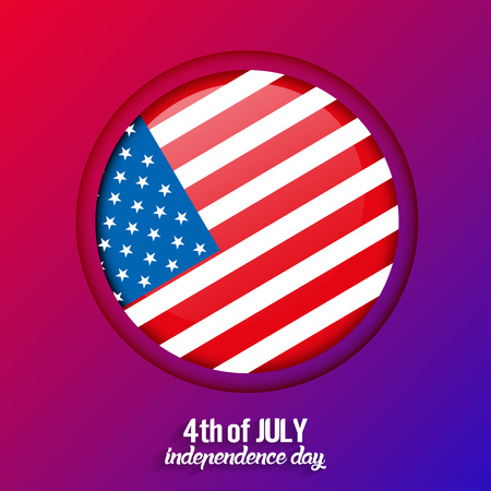 4th of July, United States independence day greeting card with colorful background, vector
