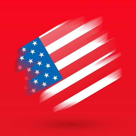 Paint stroke in Usa flag on red background, vector, illustration