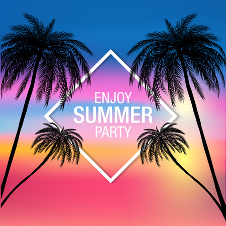 Palm trees silhouette modern summer party banner with colorful background , vector, illustration