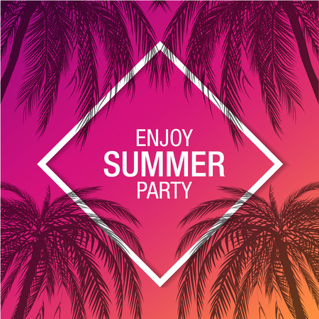 Palm trees silhouette modern summer party banner with colorful background , vector