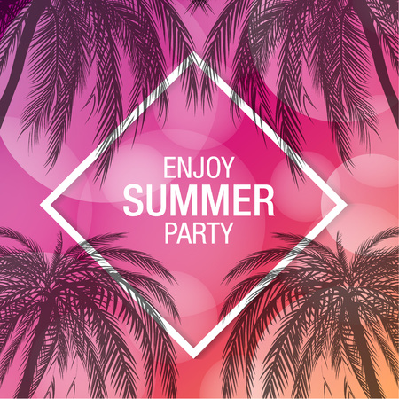 Palm trees silhouette modern summer party banner with colorful background Illustration