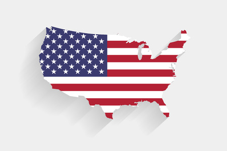United States flag map on gray background, vector, illustration
