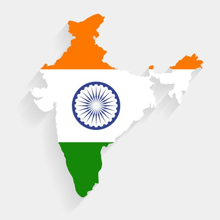 India flag map on gray background, vector, illustration, eps 10 file