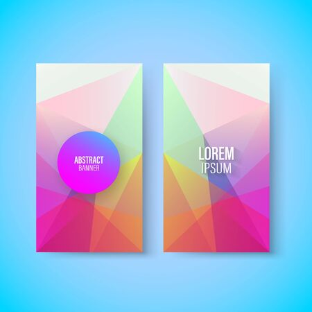 Abstract colorful geometric triangular vertical modern card template, vector, illustration