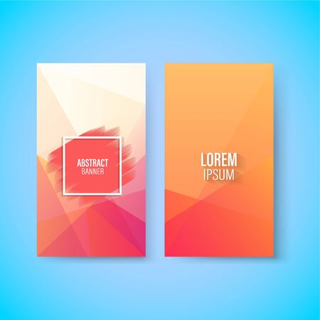 Abstract colorful geometric triangular vertical modern card template, paint stroke, vector Stock Illustratie