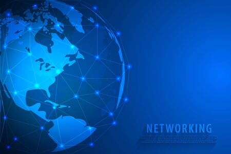 Global network connection background, blue world map, vector, illustration