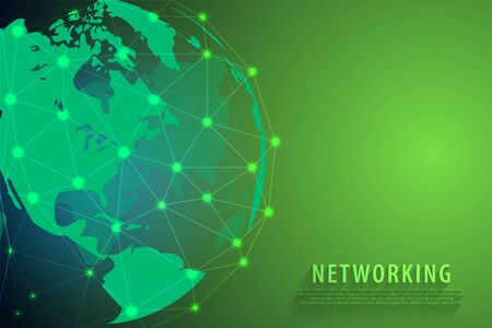Global network connection background, green world map, vector, illustration