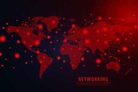 Global network connection background, red world map, vector, illustration, eps file