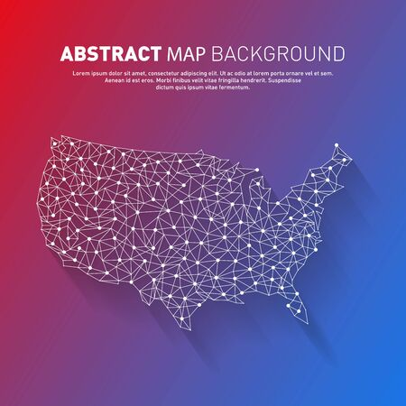 Abstract United States line map, vector, illustration, eps file Stock Illustratie