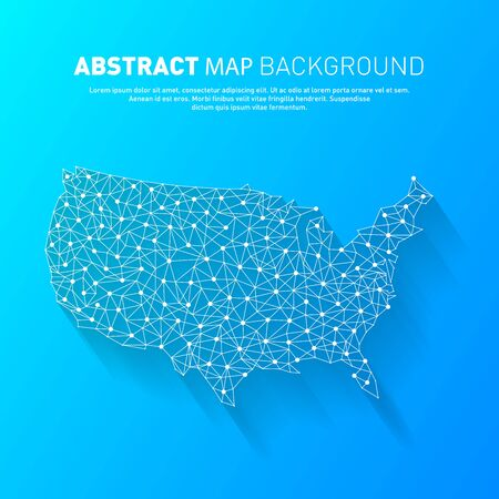Abstract United States line map, vector, illustration.