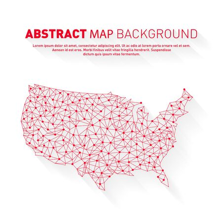 Abstract United States red line map, network, vector, illustration. Stock Illustratie