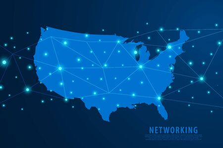 Network connection background, blue USA map, vector, illustration. Stock Illustratie