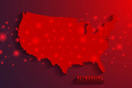 Network connection background, red USA map, vector, illustration. Stock Illustratie