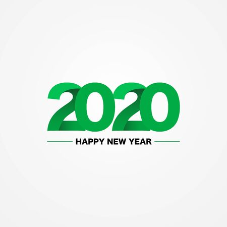 Happy New Year 2020 green  text design on white background, vector, illustration. Stock Illustratie