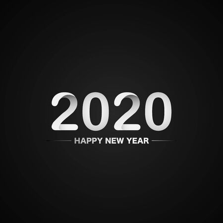 Happy New Year 2020 white  text design on black background, vector, illustration. Stock Illustratie