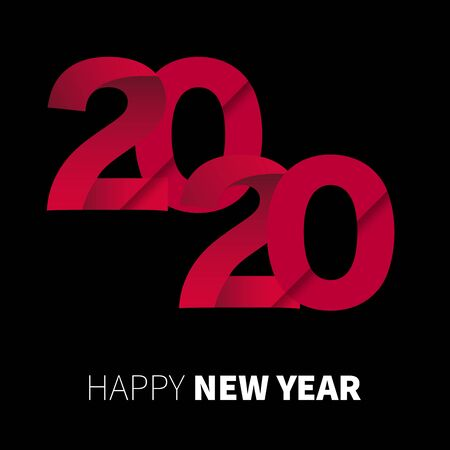 Happy New Year 2020 red  text design on black background, vector, illustration.