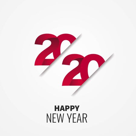 Happy New Year 2020 red  text design on white background, vector, illustration.