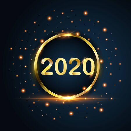 New Year 2020 circle gold glitters on blue background, vector, illustration.