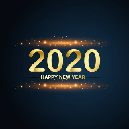 New Year 2020 gold glitters on blue background, vector, illustration. Stock Illustratie