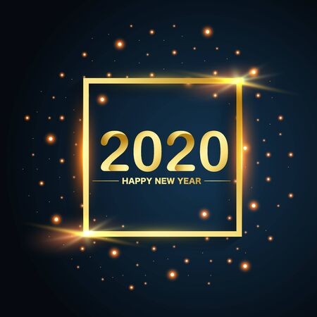 New Year 2020 square gold glitters on blue background, vector, illustration.