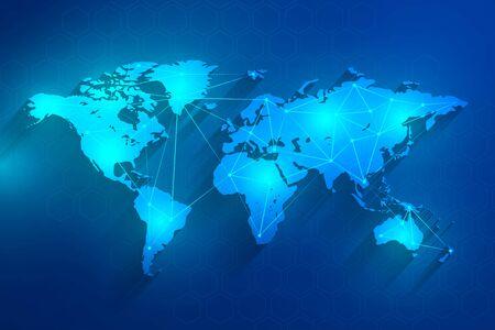 Global network connection blue background, vector, illustration, eps file