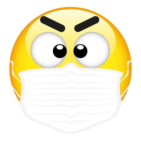 Yellow emoji wearing a surgical mask, emoticon medical mask, vector, illustration, eps file