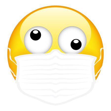 Yellow emoji wearing a surgical mask, emoticon medical mask, vector, illustration, eps file Stockfoto - 146768495