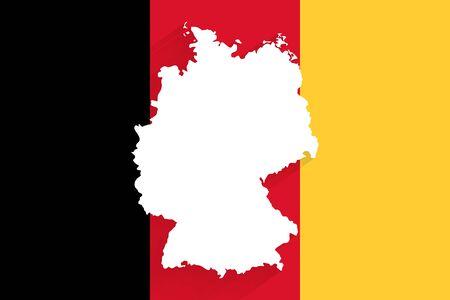 Germany map on vertical flag background, vector, illustration, eps 10 file Stock Illustratie