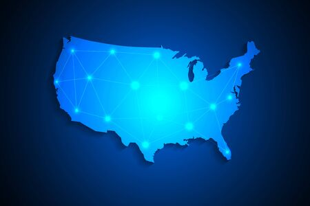 United States map on network connection, blue USA map, vector, illustration, eps file Stockfoto - 147290274