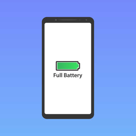 Smartphone screen and full battery icon, green screen background, vector, illustration, eps file Stock Illustratie