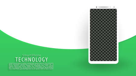 White smartphone screen landing page background, green and white background, vector, illustration, eps file