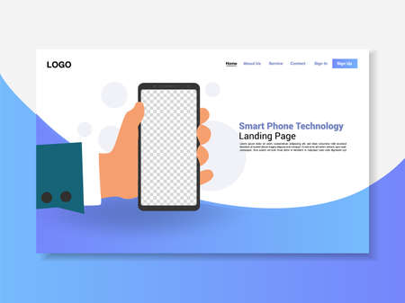 Smart phone in hand, blue striped landing page, background, vector, illustration, eps file