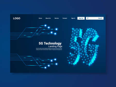 5G Global network technology landing page, interface, vector, illustration
