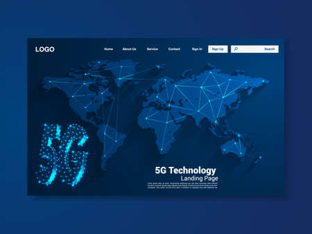 5G Global network technology landing page with world map, interface, vector, illustration
