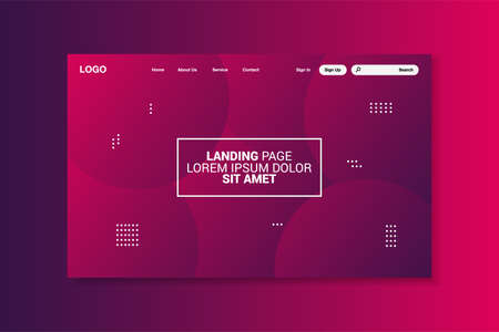 Colorful geometric landing page, interface design, vector, illustration.