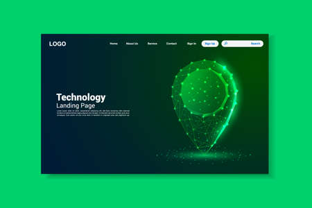 Green location icon lines landing page, triangles and particle style design, vector, illustration, eps file Stock Illustratie