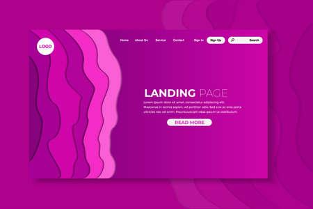 Colorful papercut landing page, interface design, vector, illustration, eps file