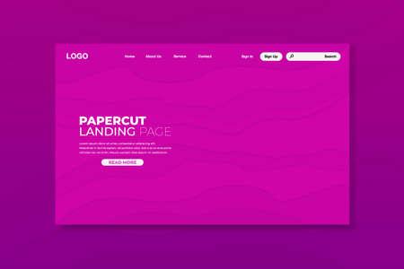 Colorful papercut landing page design