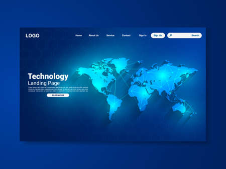World map network technology landing page with world map, interface, vector, illustration, eps 10 file