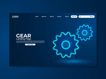 Gear technology landing page with world map, interface, vector, illustration, eps 10 file