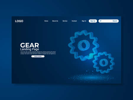 Gear technology landing page with world map vector illustration