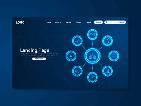 Business technology landing page with world map, interface, vector, illustration Stock Illustratie