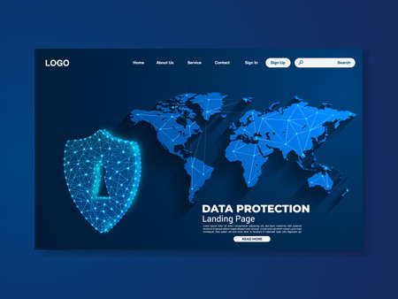 World map network data protection technology landing page, blue interface, vector, illustration, eps 10 file Stock Illustratie