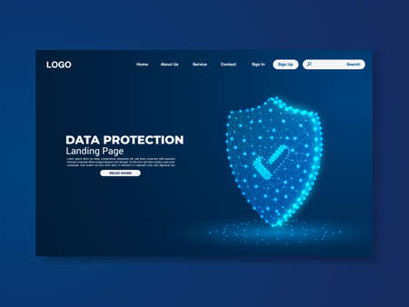 Network data protection technology landing page, blue interface, vector, illustration, eps 10 file