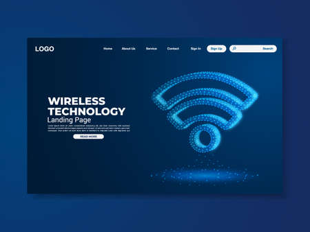 Network data protection technology landing page blue interface Stockfoto - 158252326