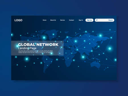 Network data protection technology landing page blue interface